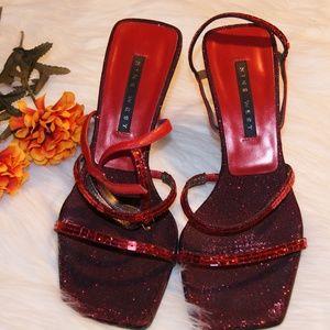 "Nine West ""Gabelle"" High Heel Glitter Sandals 6M"